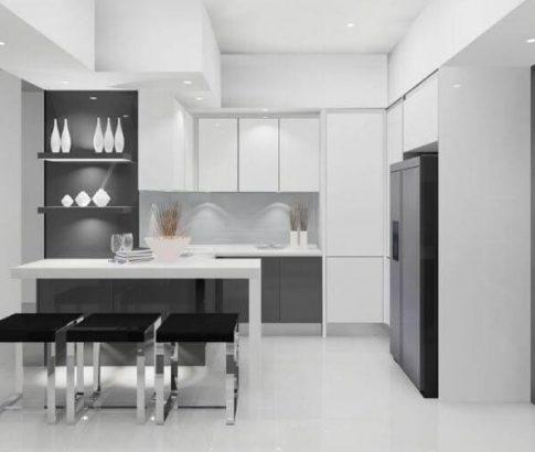 מטבח שחור לבן מעוצב מודרני, מטבח זכוכית